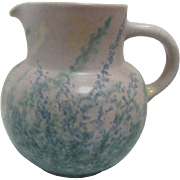 SALE Vintage Porcelain Multi-Colored Green, Blue, & Yellow Splattered Pottery Pitcher