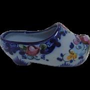 SALE Vintage Blue Dutch Clog Shoe with Floral Design Made in Portugal
