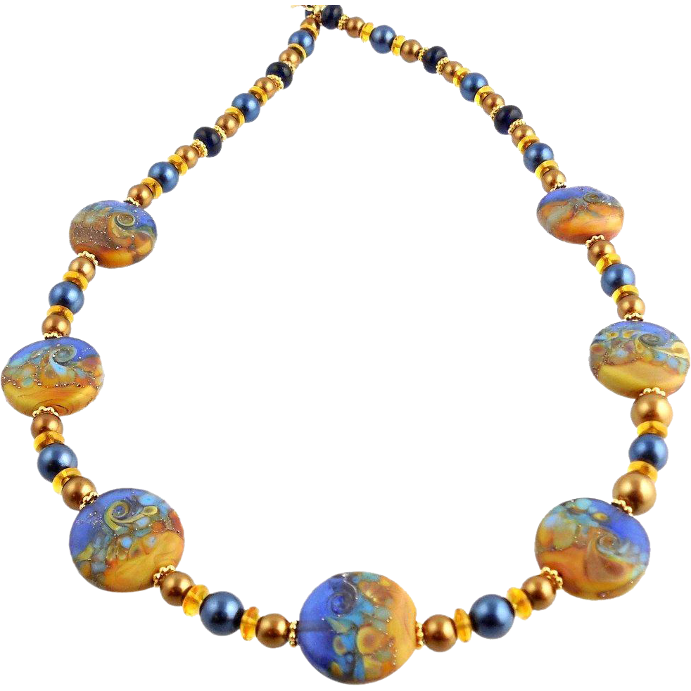 Indigo and gold color beaded lampwork art glass necklace for Fall into color jewelry walmart