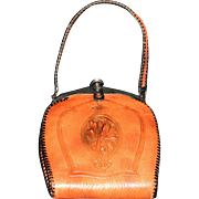 SALE Art Nouveau Hand-tooled Leather & Suede Bird of Paradise Ladies Handbag with Matching Coi
