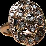 SALE Antique Georgian Ring Rose Cut Diamond 18 Karat Rose Gold