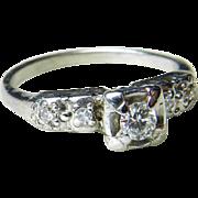 Vintage Engagement Ring Art Deco 0.25 cttw Diamond Engagement Ring Desirable 14k White Gold
