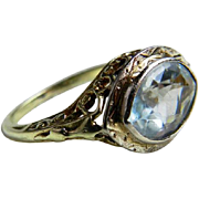 Aquamarine Ring Art Deco 2.25 Carat Aquamarine Engagement Ring Filagree Ring 14k White Gold ..