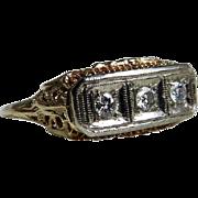 Art Deco Engagement Ring Vintage Edwardian Style 14k Art Deco Filigree Transitional Cut Diamon