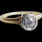 Antique Diamond Engagement Ring 0.30 Carat Old European Cut Diamond Engagement ring 14k Rose .