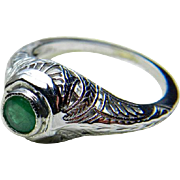 Art Deco Emerald Engagement Ring Genuine Columbian Emerald filigree 14 Karat White Gold