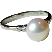 Vintage Pearl Engagement Ring Platinum 900 Diamond 8mm Cultured Pearl Engagement Ring