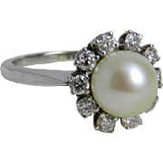 Vintage Cultured Pearl Engagement Ring 0.33 cttw Diamond Halo Engagement Ring 14K White Gold