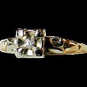Vintage Art Deco Engagement Ring Old European Cut Diamond 14k Rose Gold 14k white gold