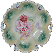 R.S. Prussia Bowl- Ruffled Edge and Pierced Handles