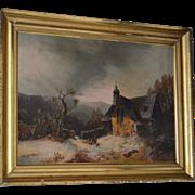 Antique Oil on Canvas Russian Winter Landscape