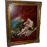 Cherubs and Nude, Hand Painted Oil on Canvas- Large Framed