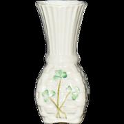 """4"""" Belleek Vase with Painted Shamrocks"""