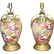 Pair Hand Painted Porcelain Nippon Lamps