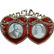 SOLD Double Heart  Red Enamel Picture Frame - Red Tag Sale Item