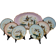 Limoges, France, Game Fowl Platter/Plate Set- Hand Painted