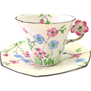 REDUCED Antique Floral English Tea Cup with Molded Figural Handle and Matching Saucer
