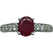 SOLD Oval Pigeon Blood Ruby & Diamond Ring - 14k White Gold