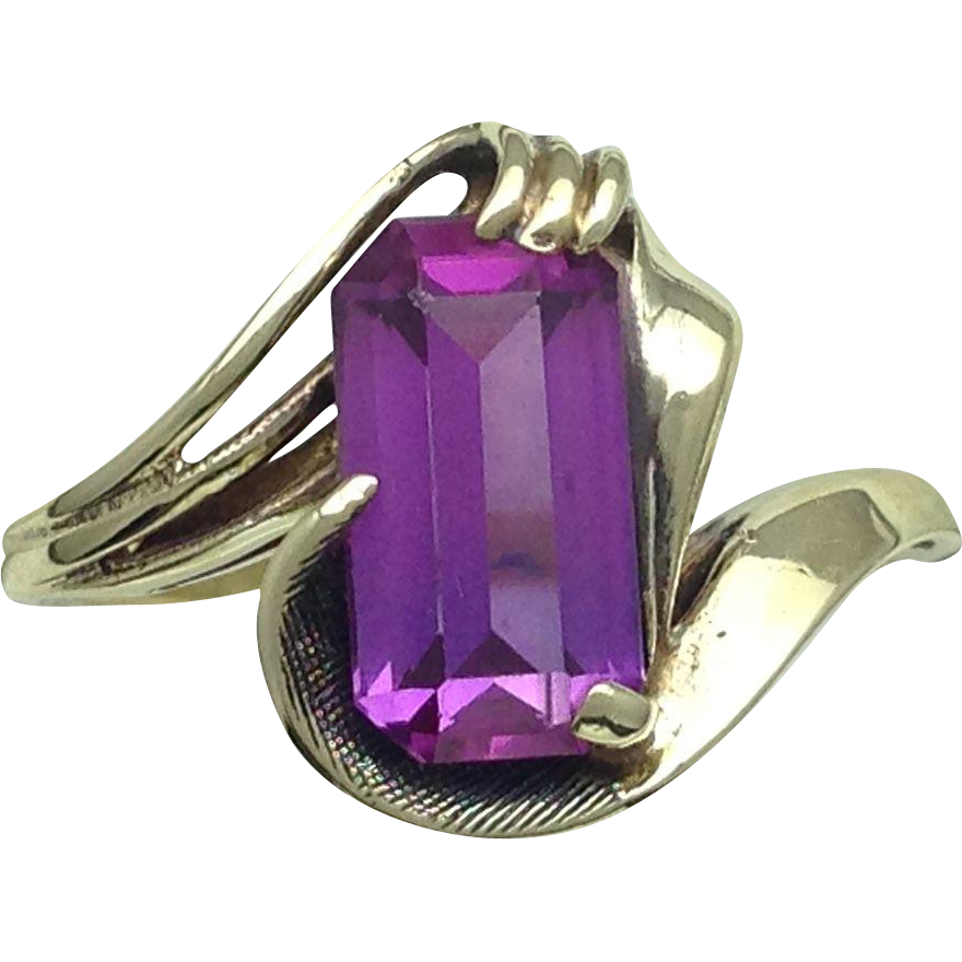 deco style synthetic emerald cut amethyst ring 10k