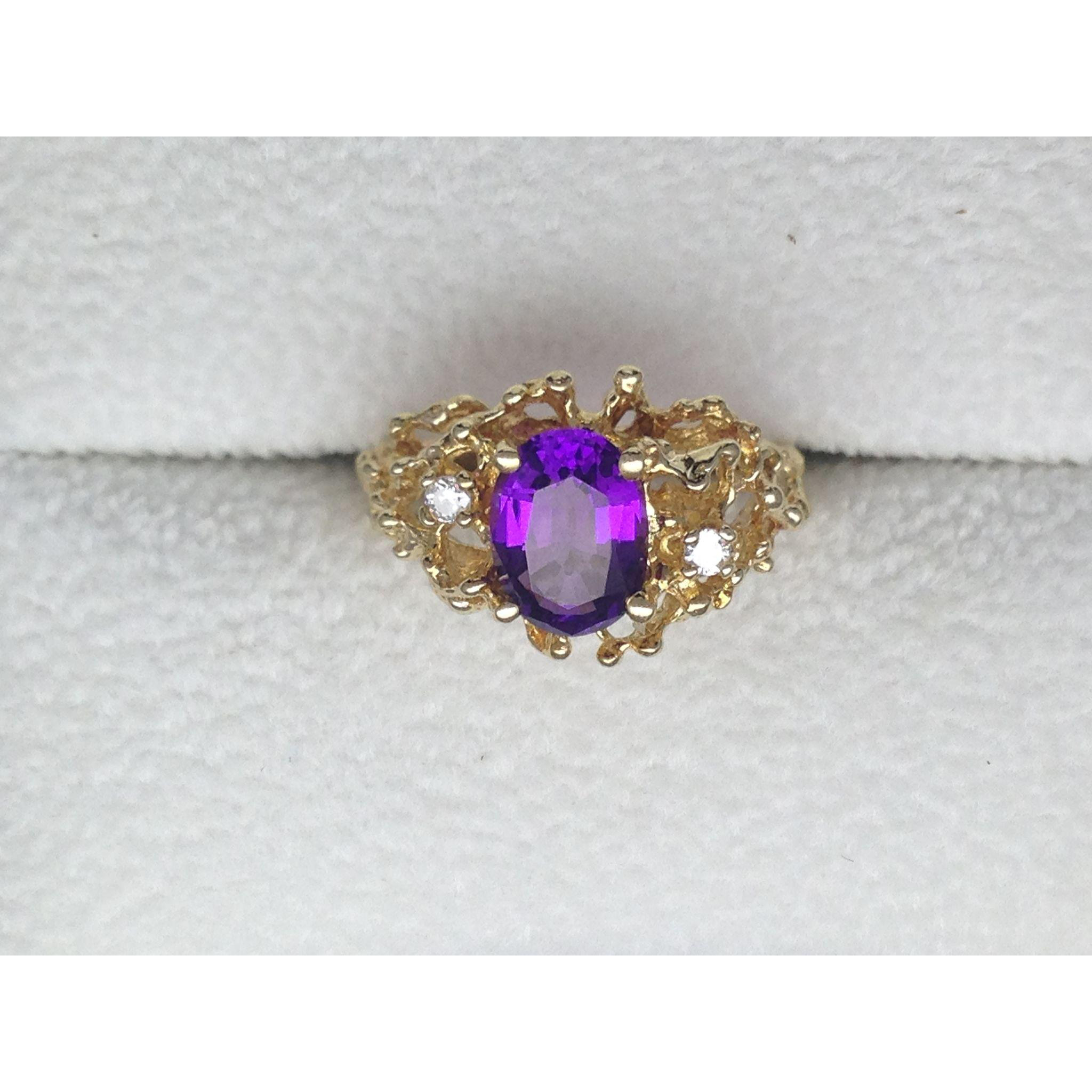 amethyst nugget ring 14k