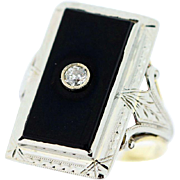 14K Yellow and White Gold Ring with Onyx Slab and Diamond Accent