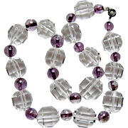 Art Deco Rock Crystal Amethyst Choker Necklace Large 16mm Faceted Beads