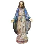 Carved and Painted Wood Mounted Model of the Virgin Mary