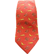 SALE AUTHENTIC VINTAGE HERMES WHIMSICAL SILK TIE FOX AND BIRDS PRINTED EXCELLENT