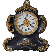 Waterbury Cast Iron & Black Enamel Mantle Clock c.1906
