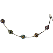 SALE 14K White Gold and SemiPrecious Stones Flower Bracelet