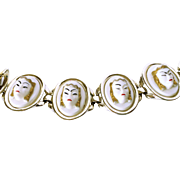 "SALE ""Thai Girl"" Asia Face White and Silver Tone Metal Selini Bracelet"