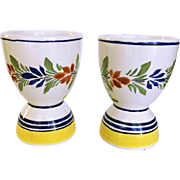 REDUCED Henriot Quimper Pottery Hand Painted Egg Cups Signed and Numbered