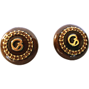 SALE Vintage Signed St John Clip Button Earrings