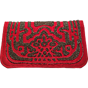 Vintage Art Deco Style Red Fabric Beaded Clutch