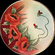 Gorgeous Union Ceramique Limoges France Decorative Poppy Plate