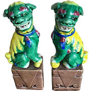 SALE Vintage Petite Foo Dogs, Green and Yellow