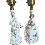 REDUCED Vintage Porcelain Figurine Lamps marked Germany
