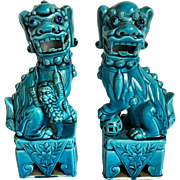 REDUCED Turquoise Colored Chinese Foo Dogs 9 1/2 Inches