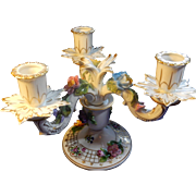 SALE Carl Thieme Dresden Porcelain Candelabra with Painted Flowers