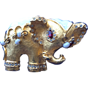 SALE Hattie Carnegie Elephant Brooch with White Beads and Rhinestones