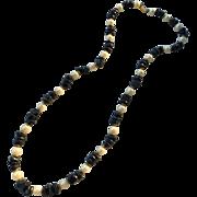 SALE Dauplaise Faux Pearl and Faux Lapis Strand Necklace