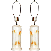 Faux-Bamboo Ceramic Lamps, Pair