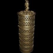 Vintage Ornate Gilded Metal Ormolu Cylindrical Florentine Hairspray Cover, Cherub Finial