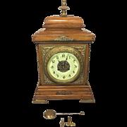 SALE Antique Fritz Marti Brass & Wood Bracket Clock Beautiful Wood Case Porcelain Face Runs &