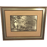Vintage Jamie Wyeth Sterling Silver Artwork 1977 Pennsylvania Farm Country Issued by Franklin