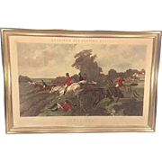 "Antique Herrings Fox Hunting Scenes Plate  ""Full Cry"" Framed 1867  Engraved by John"