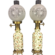 SALE Vintage Pair of Porcelain Lamps with Gold Colored Metal Bases Etched Glass Shades Work!