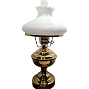 SALE Brass Electric Table Lamp, White Milk Glass Globe and Glass Flute Works