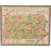 "SALE Antique ""A New Map of Pennsylvania"" 1850 Map Done by Samuel Augustus Mitchell,"