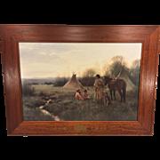 SALE Vtg American Indian Scene Print Indian Woman w/ Children w/ Beautiful Wood Frame